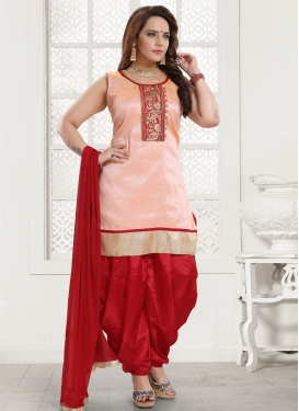 Embroidered Work Art Silk Peach and Red Readymade Salwar Suit