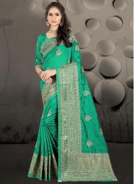 Embroidered Work Art Silk Traditional Designer Saree
