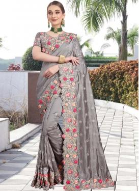 Embroidered Work Art Silk Traditional Designer Saree For Festival