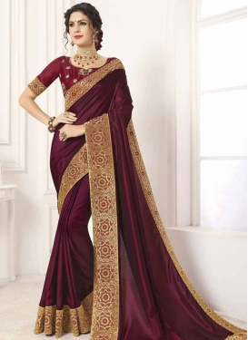 Embroidered Work Art Silk Traditional Saree For Ceremonial