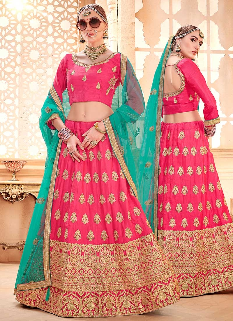 Embroidered Work Art Silk Trendy A Line Lehenga Choli