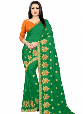 Embroidered Work Art Silk Trendy Classic Saree