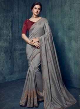 Embroidered Work Art Silk Trendy Classic Saree For Ceremonial