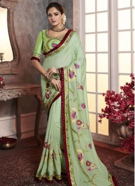 Embroidered Work Art Silk Trendy Saree