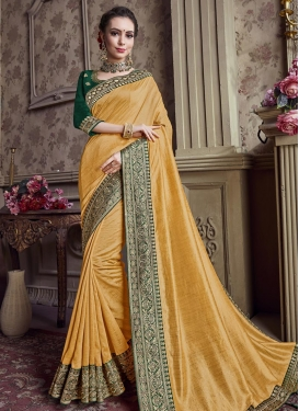 Embroidered Work Art Silk Trendy Saree For Festival