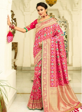 Embroidered Work Banarasi Silk Designer Contemporary Style Saree