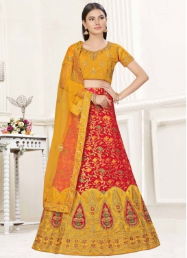 Embroidered Work Banarasi Silk Mustard and Red Designer A Line Lehenga Choli