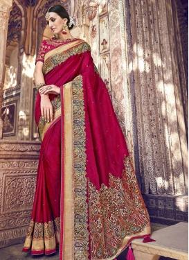 Embroidered Work Banarasi Silk Trendy Classic Saree