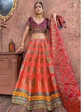 Embroidered Work Banarasi Silk Trendy Lehenga