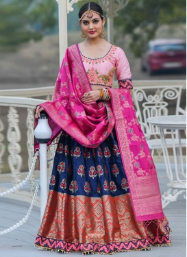 Embroidered Work Banarasi Silk Trendy Lehenga