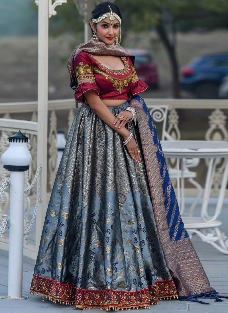 Embroidered Work Banarasi Silk Trendy Lehenga Choli