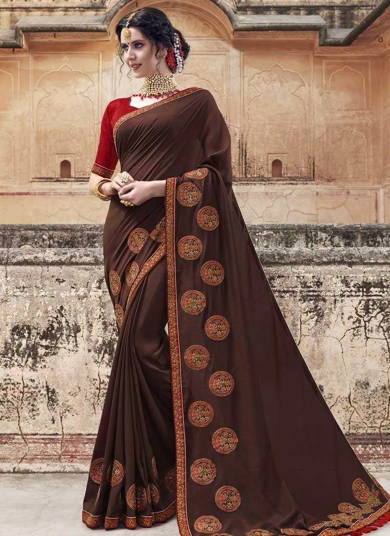 Embroidered Work Banglori Silk Designer Traditional Saree