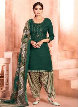 Embroidered Work Beige and Bottle Green Designer Patiala Salwar Suit