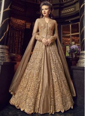 Embroidered Work Beige and Brown Art Silk Kameez Style Lehenga Choli