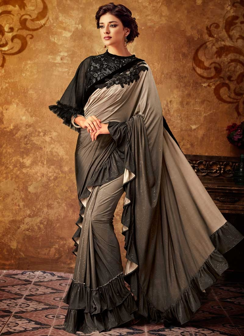 Embroidered Work Beige and Brown Traditional Designer Saree