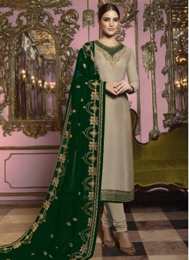 Embroidered Work Beige and Green Pakistani Straight Salwar Suit