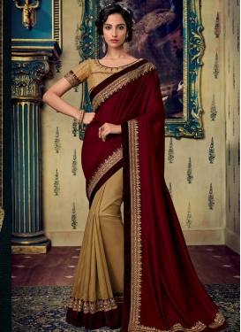 Embroidered Work Beige and Maroon Half N Half Designer Saree