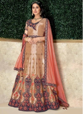 Embroidered Work Beige and Maroon Silk Designer Classic Lehenga Choli