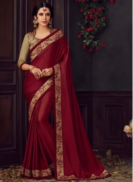 Embroidered Work Beige and Maroon Traditional Designer Saree