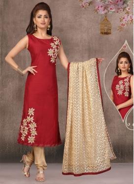 Embroidered Work Beige and Red Chanderi Silk Readymade Churidar Salwar Kameez