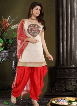 Embroidered Work Beige and Red Readymade Salwar Kameez