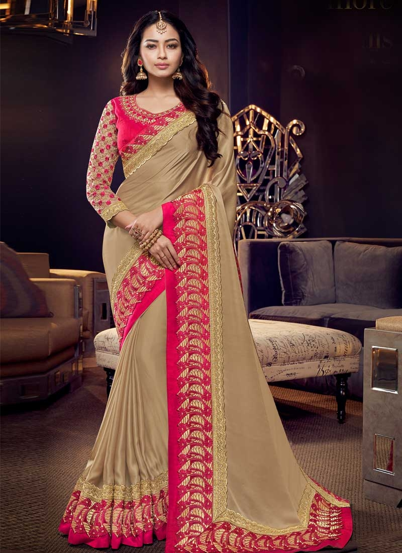 Embroidered Work Beige and Rose Pink Designer Contemporary Style Saree