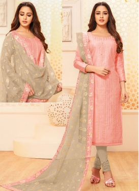 Embroidered Work Beige and Salmon Trendy Churidar Salwar Suit