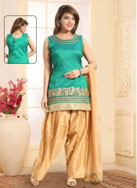 Embroidered Work Beige and Sea Green Readymade Salwar Suit