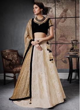 Embroidered Work Black and Cream Jacquard Silk Designer Lehenga Choli