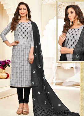 Embroidered Work Black and Grey Churidar Salwar Suit