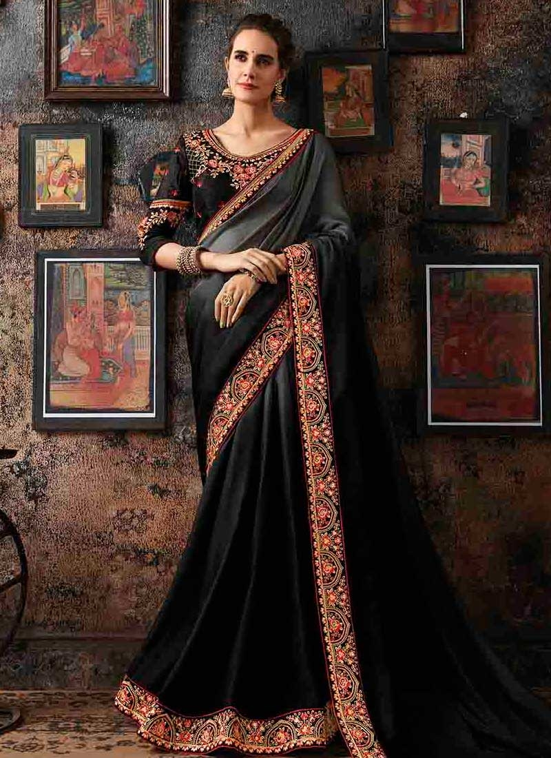 Embroidered Work Black and Grey Designer Contemporary Style Saree