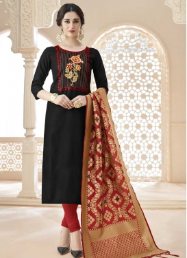 Embroidered Work Black and Red Cotton Trendy Churidar Salwar Suit