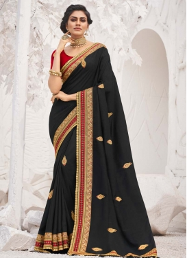 Embroidered Work Black and Red Designer Traditional Saree