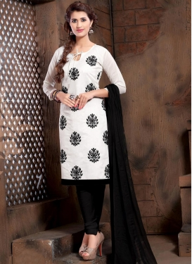 Embroidered Work Black and White Trendy Churidar Salwar Suit