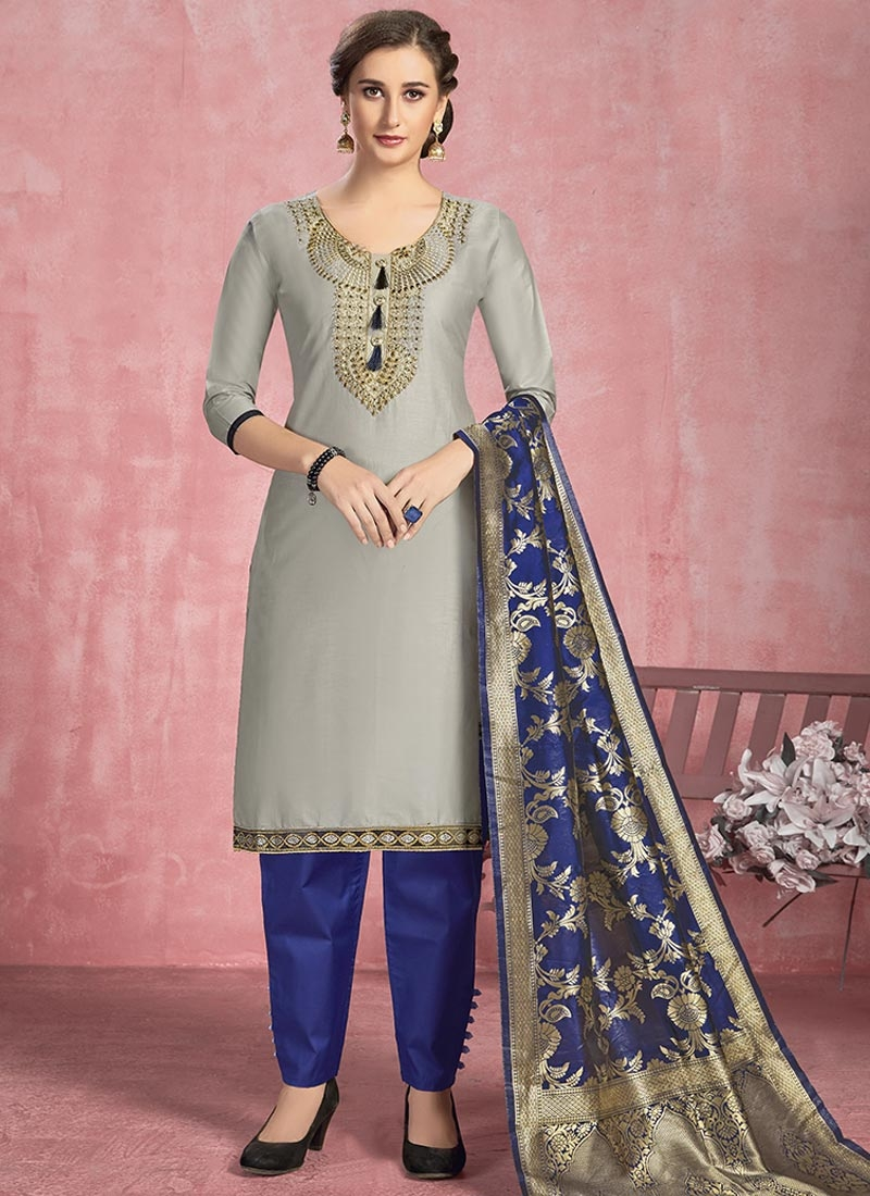 Embroidered Work Blue and Grey Cotton Pant Style Salwar Suit