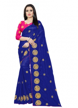 Embroidered Work Blue and Rose Pink Designer Contemporary Saree
