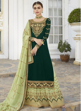 Embroidered Work Bottle Green and Mint Green Faux Georgette Designer Kameez Style Lehenga