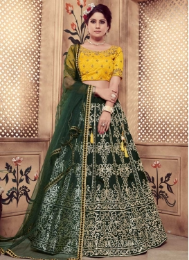 Embroidered Work Bottle Green and Mustard Trendy Lehenga