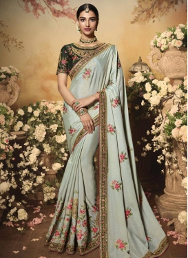 Embroidered Work Bottle Green and Sea Green Designer Contemporary Style Saree