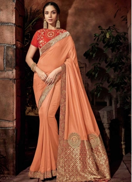 Embroidered Work Brocade Classic Saree For Ceremonial