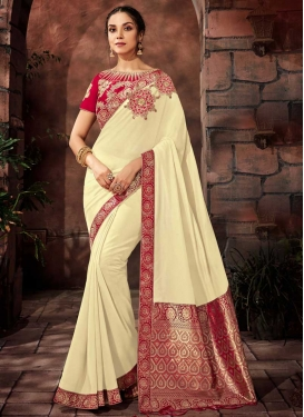 Embroidered Work Brocade Cream and Red Traditional Saree