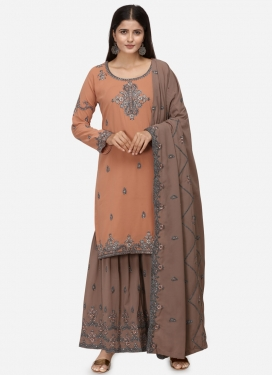 Embroidered Work Brown and Peach Faux Georgette Sharara Salwar Suit