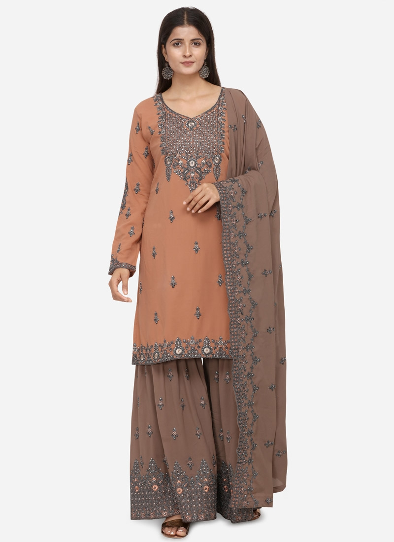 Embroidered Work Brown and Peach Sharara Salwar Suit