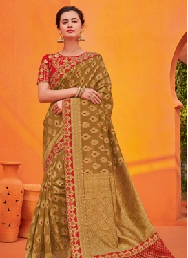 Embroidered Work Brown and Red Designer Contemporary Saree