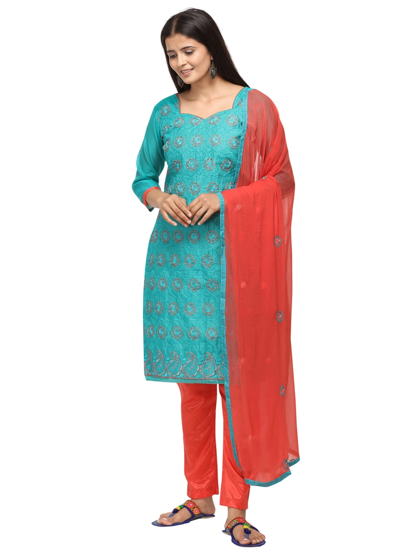 Embroidered Work Chanderi Cotton Aqua Blue and Tomato Pant Style Classic Salwar Suit