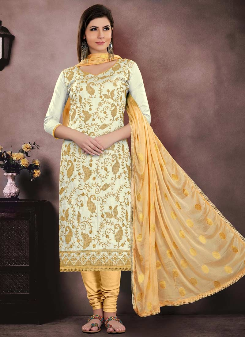 Embroidered Work Chanderi Cotton Cream and Gold Trendy Straight Salwar Kameez