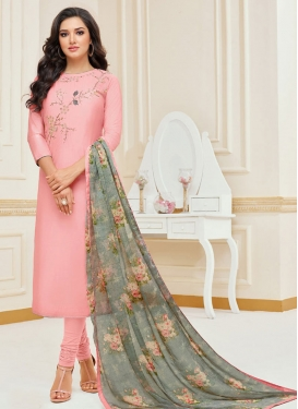 Embroidered Work Chanderi Cotton Trendy Churidar Salwar Kameez