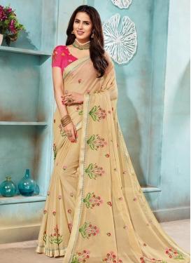 Embroidered Work Chanderi Silk Designer Contemporary Style Saree