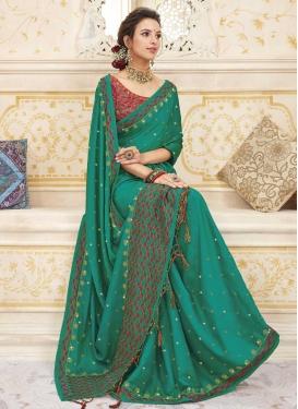 Embroidered Work Chanderi Silk Designer Traditional Saree