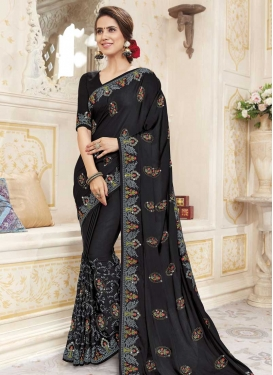 Embroidered Work Chanderi Silk Designer Traditional Saree For Festival